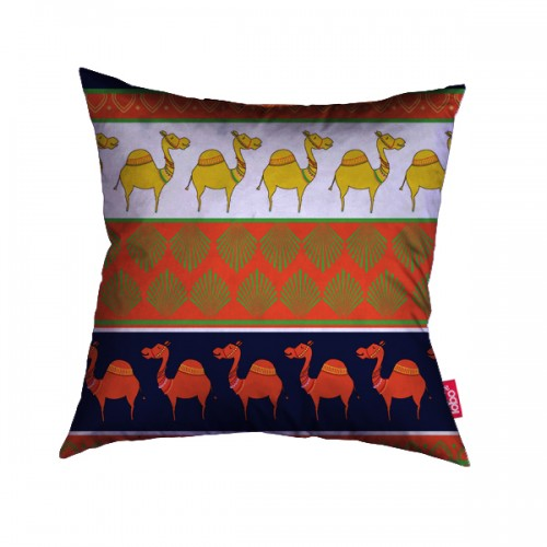 Orange camel parade cushion cover